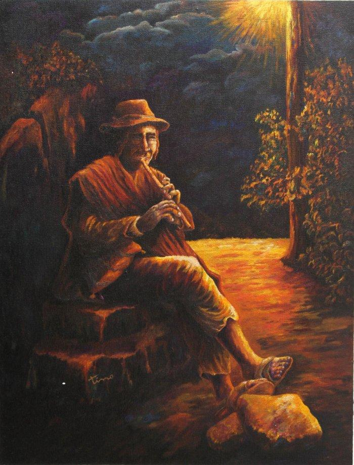 Flute plair wall painting - a man with flute