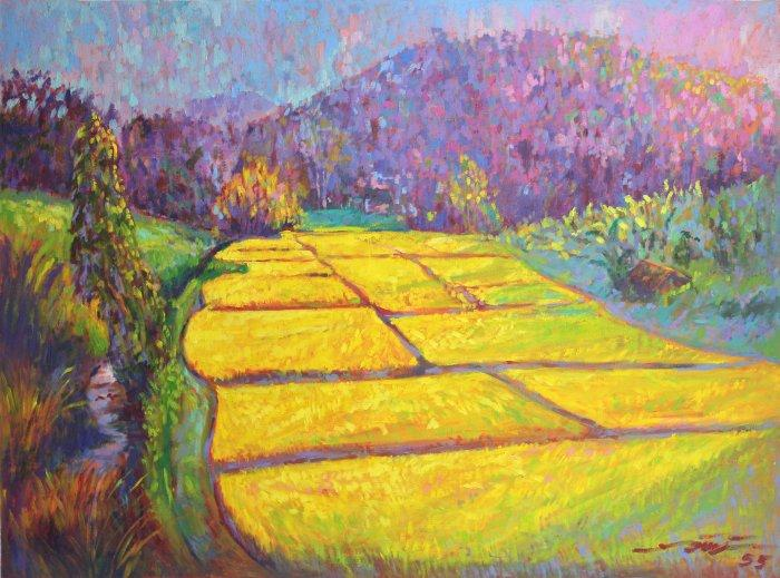 Golden fields wall painting - oil on canvas