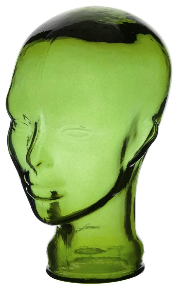 Head glass figurine - made of green material