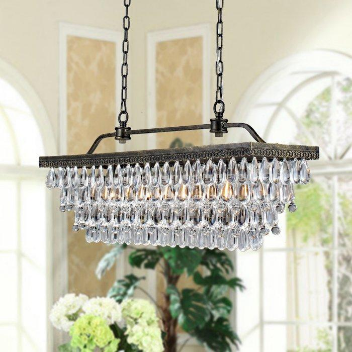 Industrial crystal chandelier - with metal base