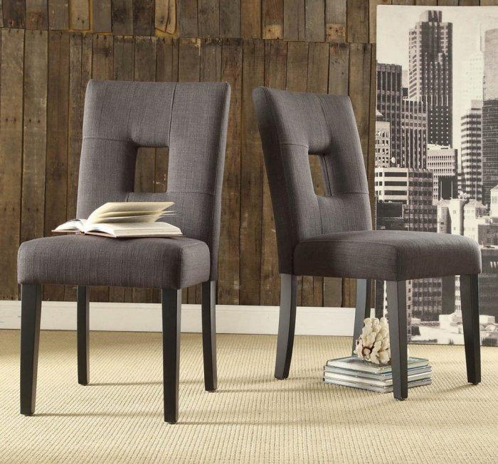 Linen dining chair - in dark gray color