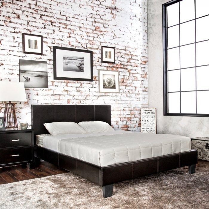 Loft platform bed - with black headboard