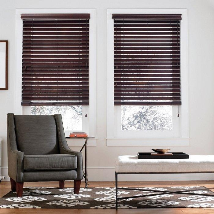 Mahogany bedroom blind - two pieces