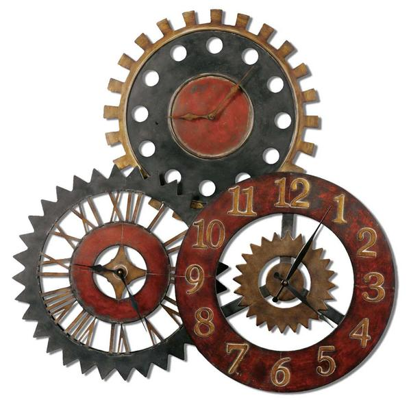 Mechanic vintage wall clock - with wheels