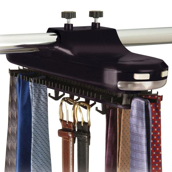 Mobile tie and belts closet organizer - for railing mounting