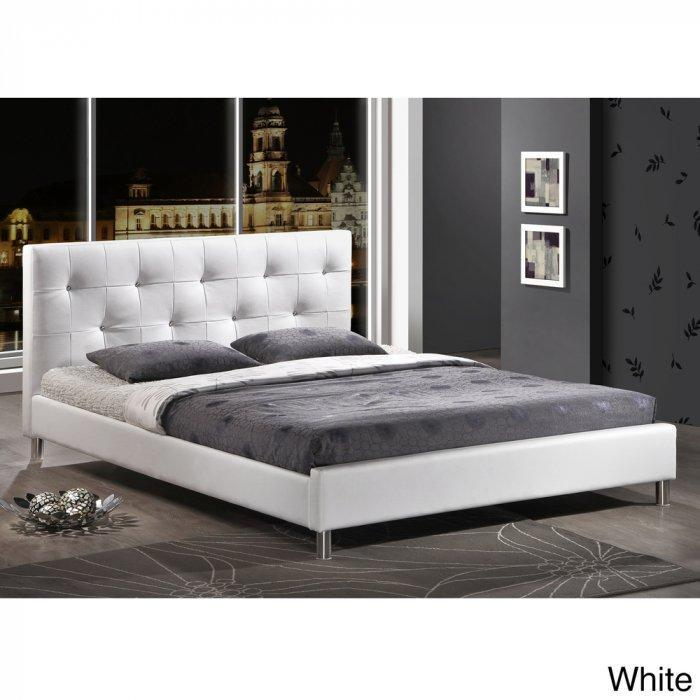 Modern platform bed - with white headboard