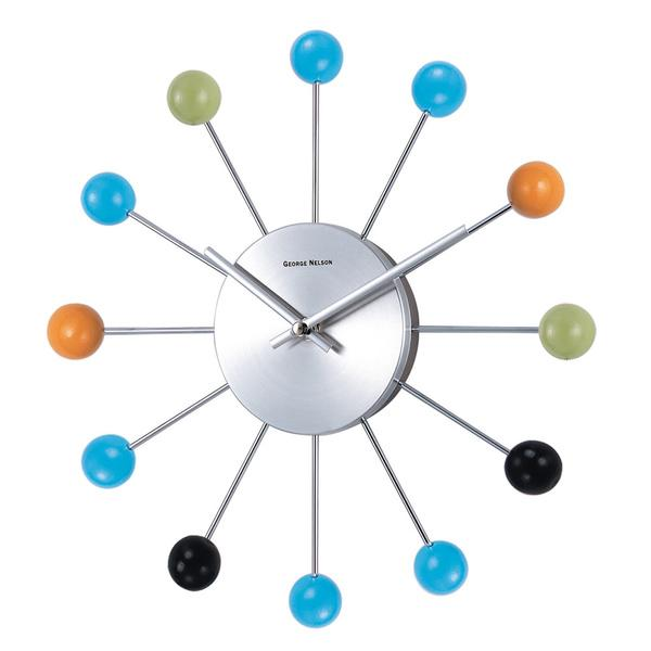Modern wall clock - with spheres
