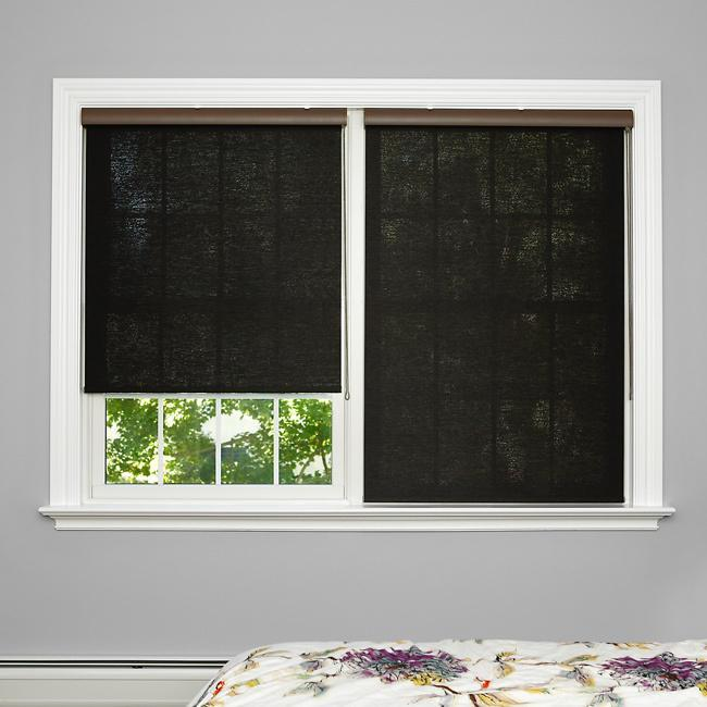 Roller bedroom blind - in dark color