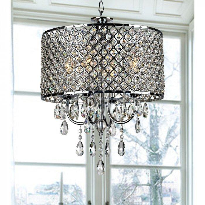 Round crystal chandelier - with oval shape