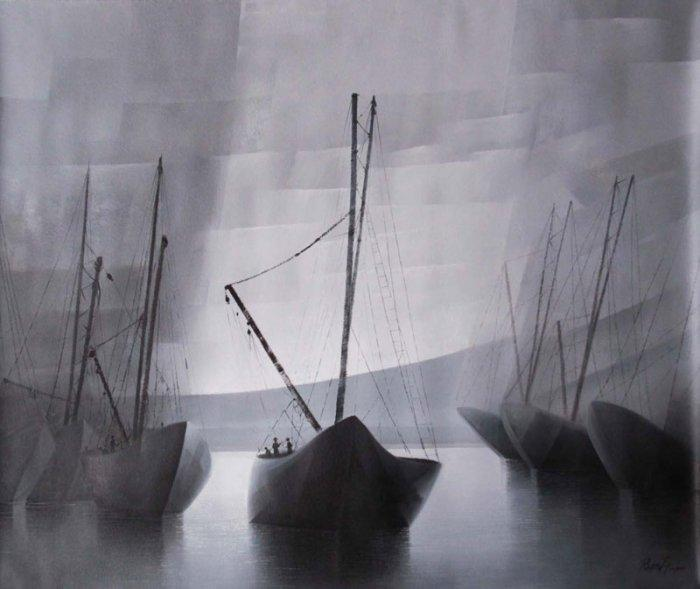 Sea landscape wall painting - with boats