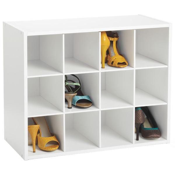 Shoes closet organizer - made of white wood