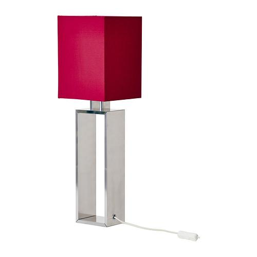 Square table lamp - with red shader