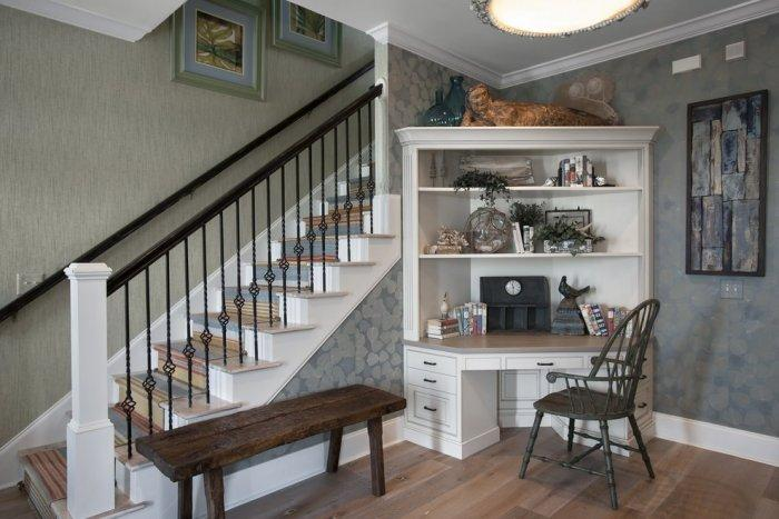Traditional corner desk - beneath the staircase
