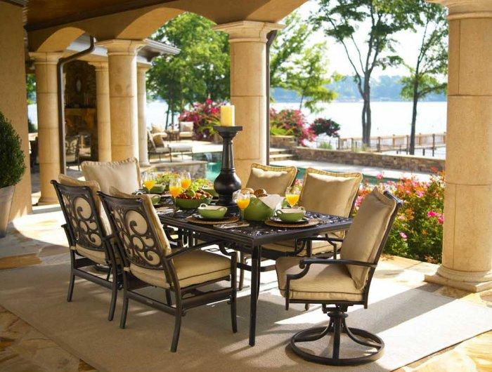 traditional outdoor chairs with metal table - Garden Furniture Traditional