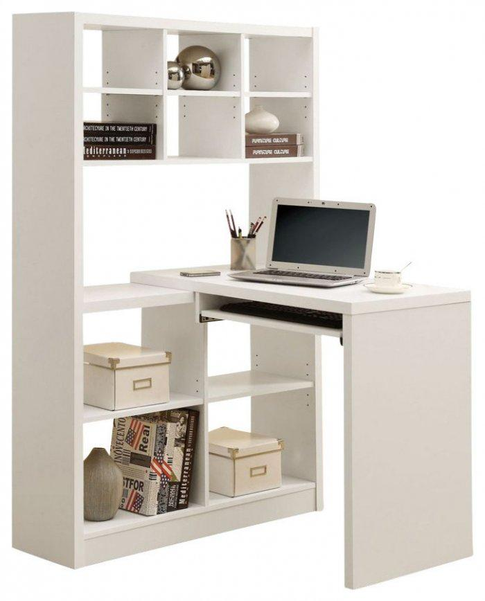 White corner desk - with bookcase
