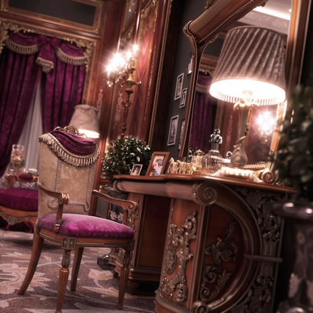 3d classic interior - powder vanity
