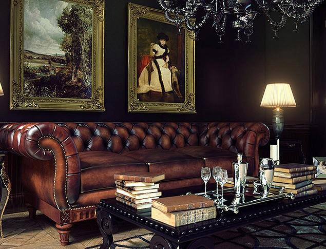 3d classic living room - with leather couch
