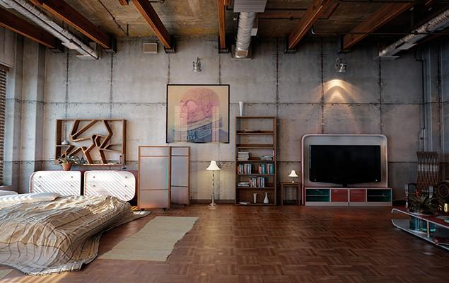 3d contemporary apartment - with industrial design