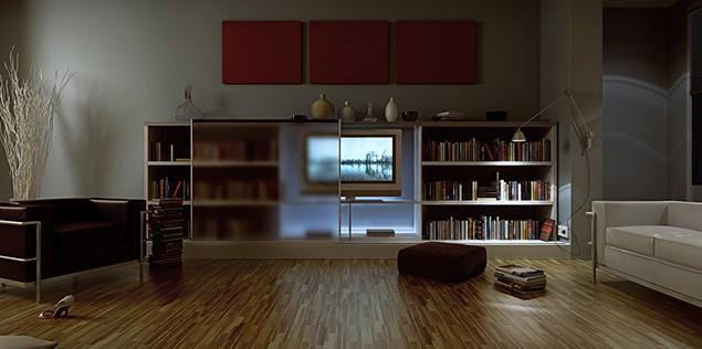 3d contemporary residence - the living room