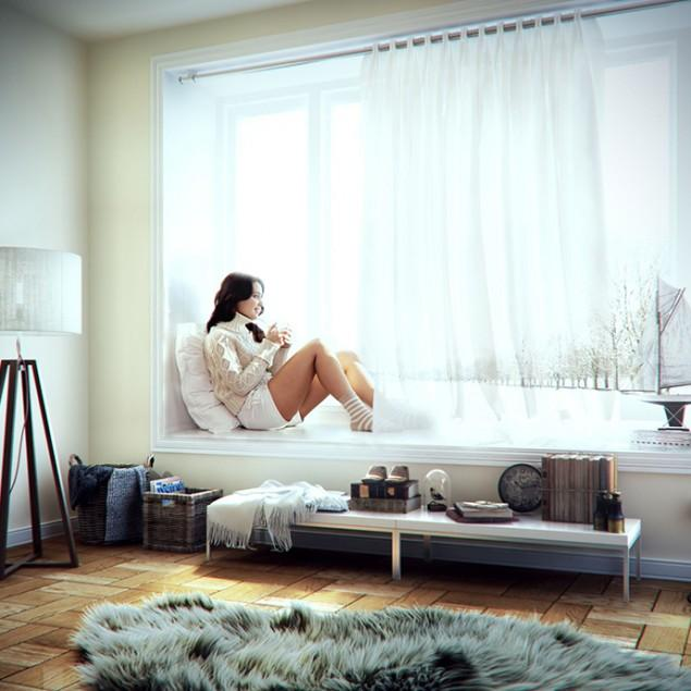 3d cozy room - and woman the window