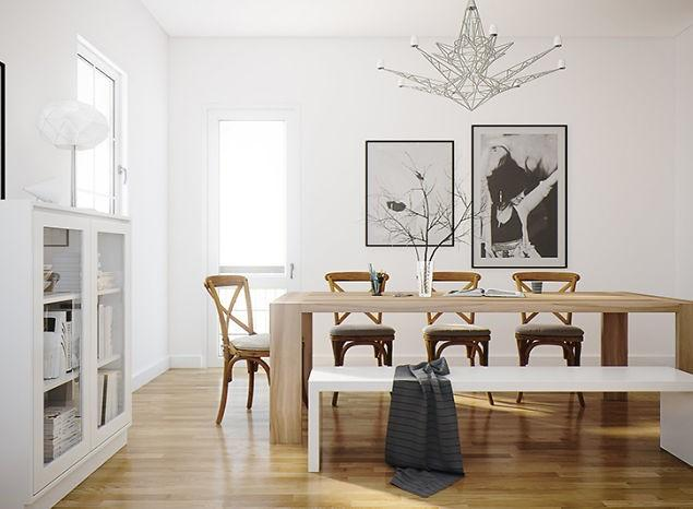 3d dining room - with table and chairs