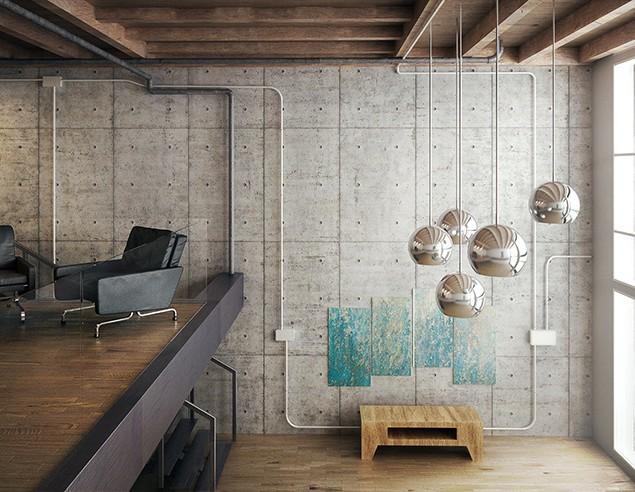 3d modern loft - industrial interior