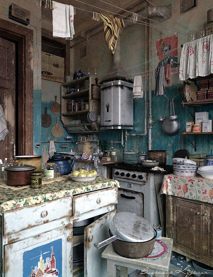 3d Russian village kitchen - old and dirty | Founterior