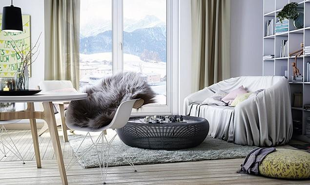 3d Scandinavian room - with cozy interior