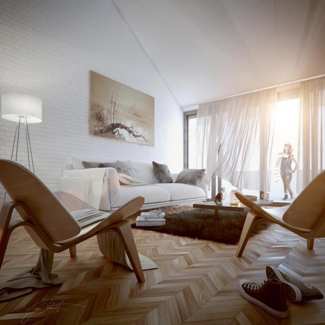 3d urban apartment - with designer chair
