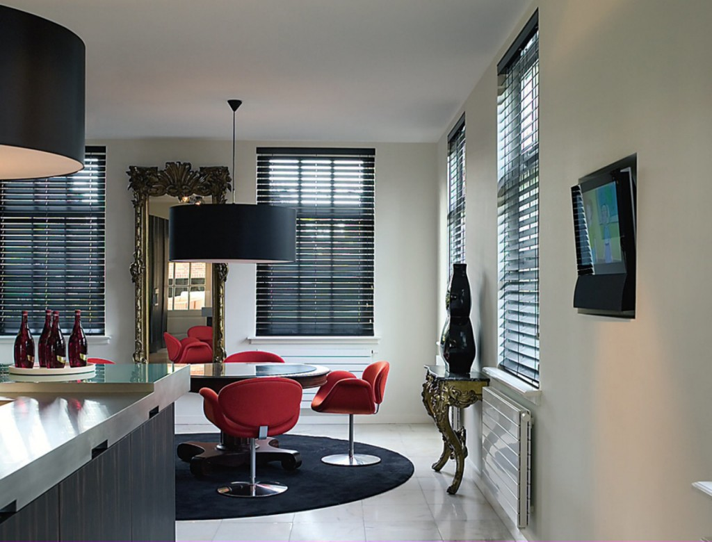 Contemporary kitchen blinds - in black