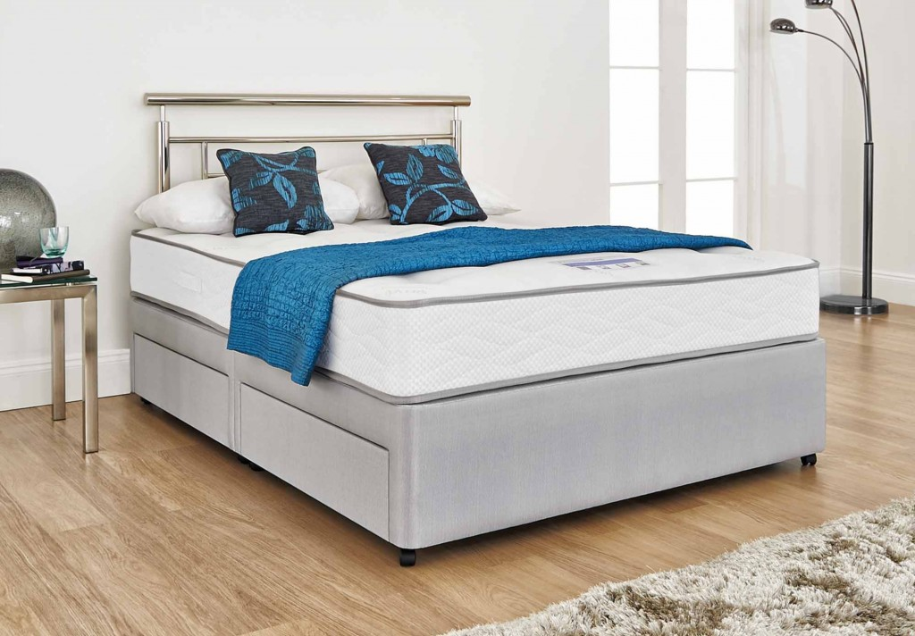 Contemporary queen size bed - with metal headboard