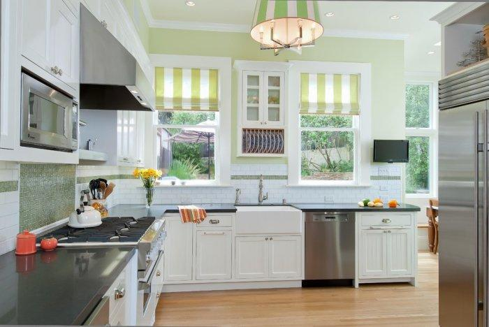 Elegant Kitchen Blinds   In Green And White