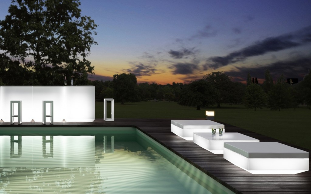 Futurist outdoor chaise lounge - in white