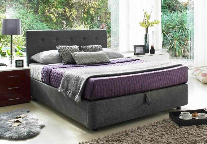 Gray queen size bed - in modern bedroom