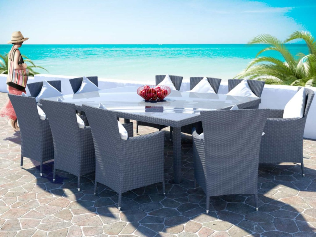Grey outdoor dining set - made of rattan