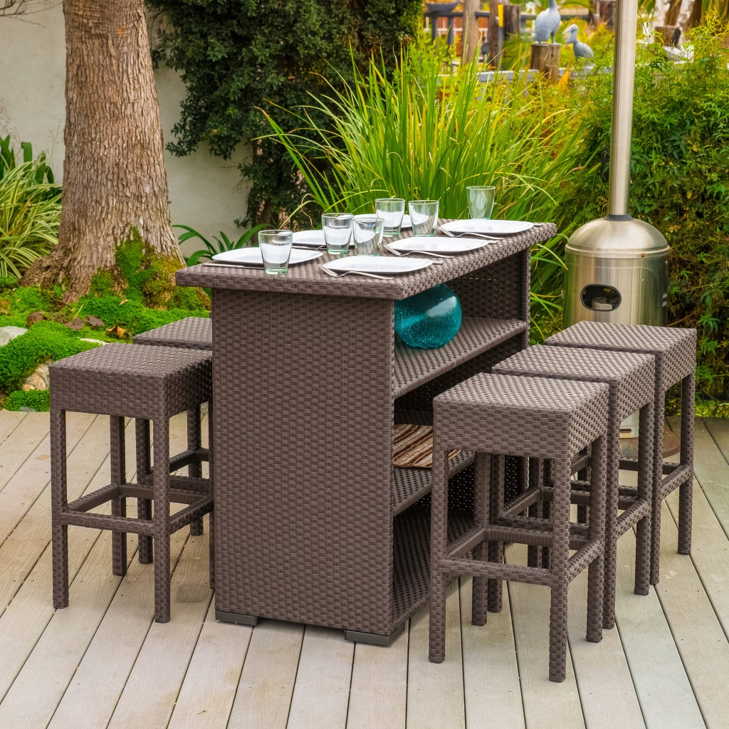 High outdoor dining set - made of rattan