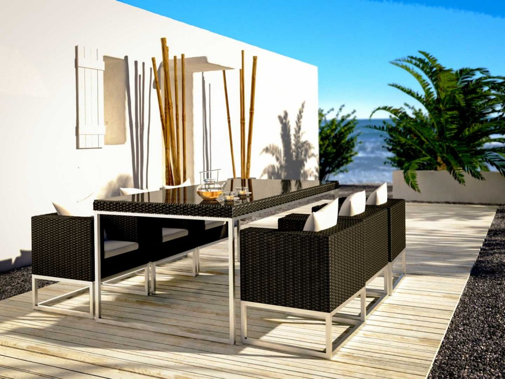 Luxurious outdoor dining set - in black
