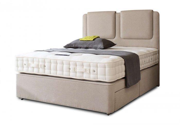 Modern queen size bed - with beige headboard