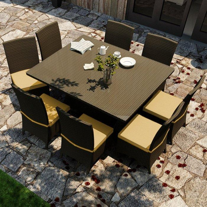 Patio outdoor dining set - in black and yellow