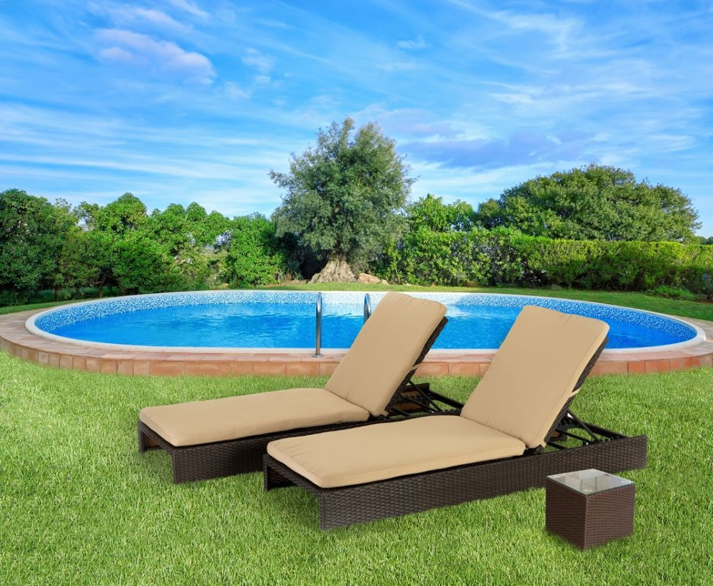 Modern outdoor chaise lounge - Rattan Outdoor Chaise Lounge In Grey Color