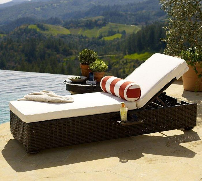 Simple Outdoor Chaise Lounge   Made Of Rattan