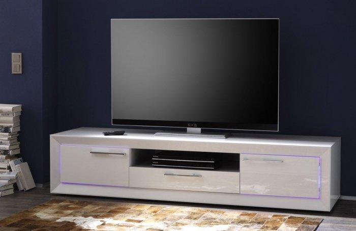 White TV stand - with polished doors