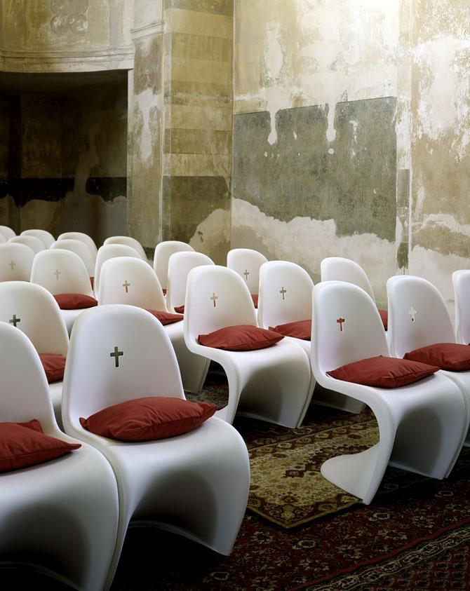 church chairs in white