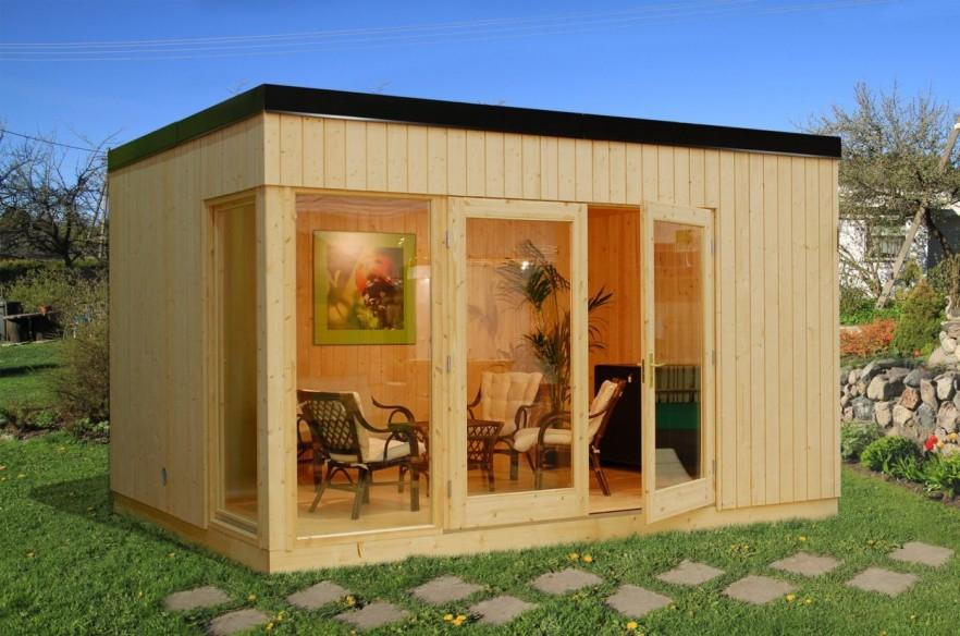 Garden shed made of wood - with glass facade