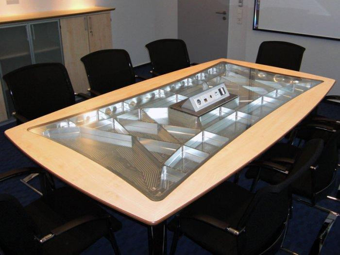 Gl Conference Room Table With Wood