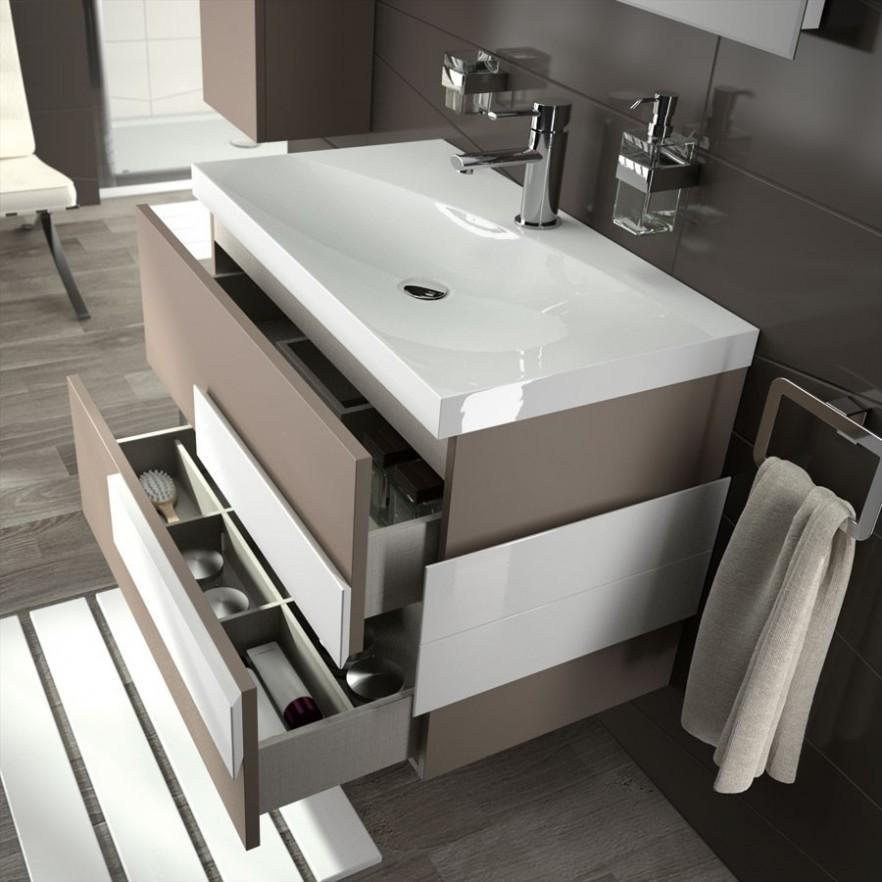 Gray bathroom vanity - contemporary design