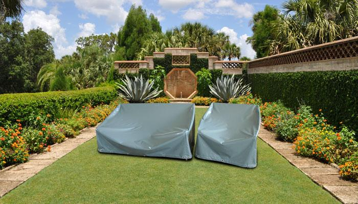 Gray patio furniture cover - for sofas