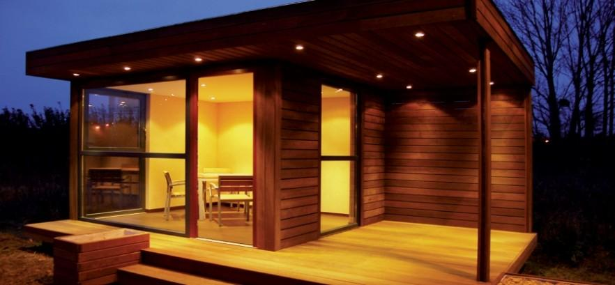 Luxurious garden shed - at night