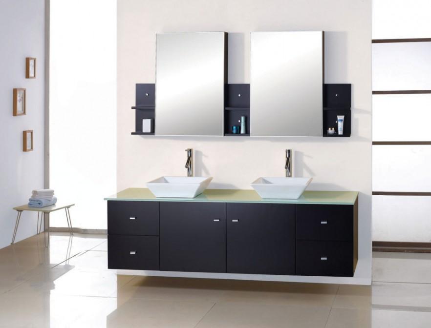 Minimalist bathroom vanity - in black and white