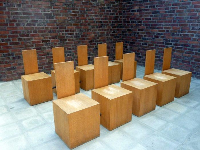 minimalist church chairs made of wood